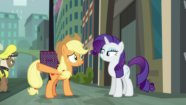 "File:Applejack ""can barely cross the street in this town"" S5E16.png"