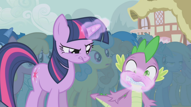File:Twilight magically zips Spike's mouth shut S1E06.png