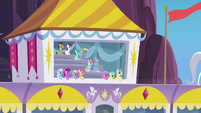 Ponies in the private seating box S7E7
