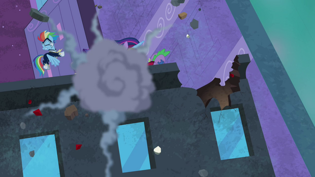File:Power Ponies attacked with fire hydrant S4E06.png