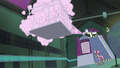 The Power Ponies being sprayed upon S4E06.png