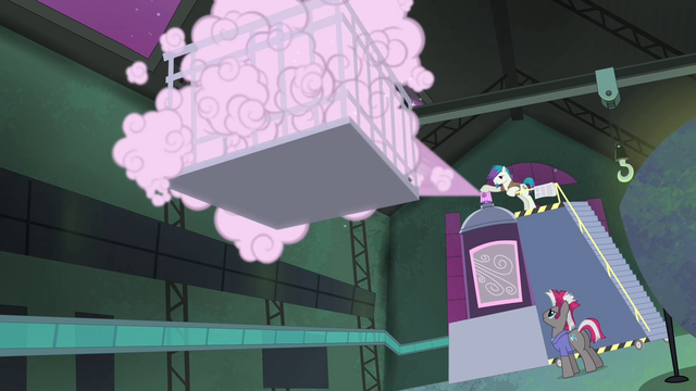 File:The Power Ponies being sprayed upon S4E06.png