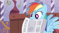 Rainbow Dash holding newspaper S2E23