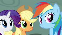 Rarity, Applejack, and Rainbow smiling S4E18