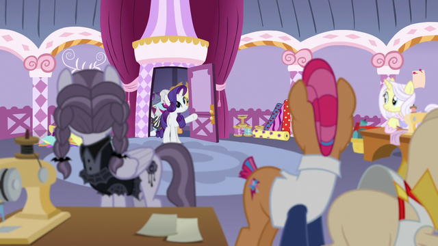 File:Rarity and contest judges return to the sewing room S7E9.png