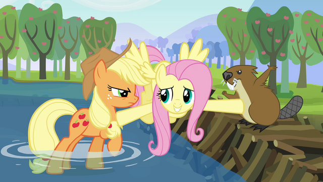 File:Fluttershy comes between Applejack and the beaver S03E10.png