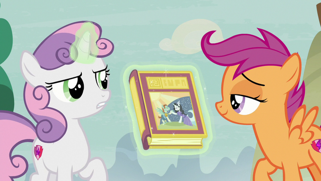 File:Scootaloo raises a teasing brow at Sweetie Belle S7E8.png