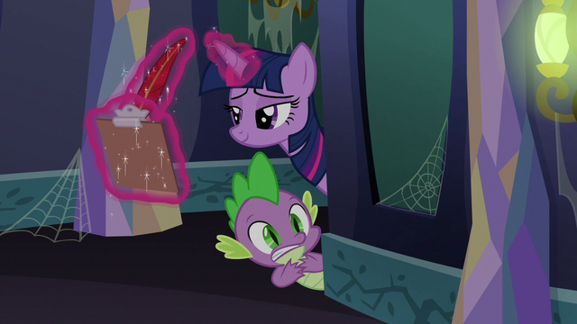 File:Twilight taking notes on Starlight and Fluttershy S6E21.png