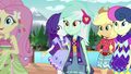 Fluttershy, Lyra, and Bon Bon go down the runway EG4.png