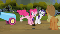 Pinkie Pie kicks party cannon away S03E09.png