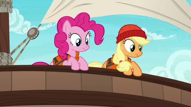 File:Pinkie and Applejack looking overboard S6E22.png