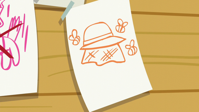 File:A sheet of paper showing bees and a beekeeper hat S6E4.png