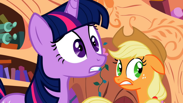 File:Twilight and Applejack shocked by the amount of cutie marks Apple Bloom is obtaining S2E06.png