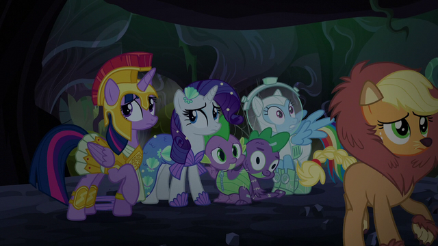 File:Main cast huddling close together S5E21.png