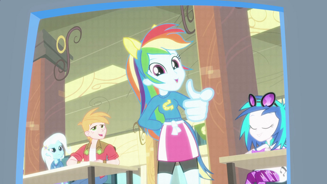 File:Rainbow Dash pointing at the camera EG.png