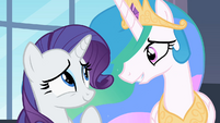 Rarity and Princess Celestia smiling S02E9