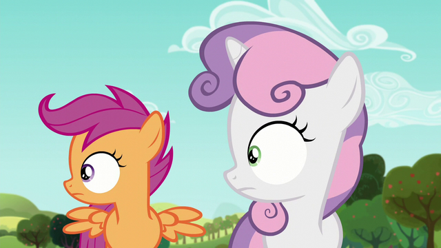 File:Sweetie and Scootaloo hears the voice of 'Orchard Blossom' S5E17.png