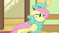 Zephyr Breeze excitedly hugging Fluttershy S6E11