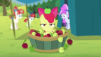Apple Bloom spits out an apple S5E17