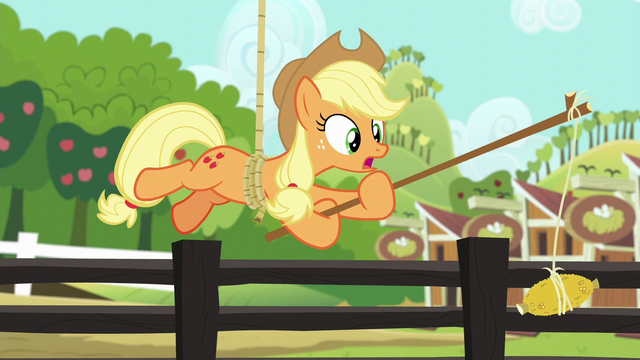 File:Applejack hanging from the rope again S6E10.png