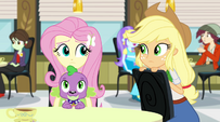 Fluttershy looking toward Applejack EG2