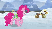 Pinkie Pie listening to two yak kids S7E11