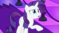 Rarity asks the bouncer to ask DJ Pon-3 to turn the music down S6E9