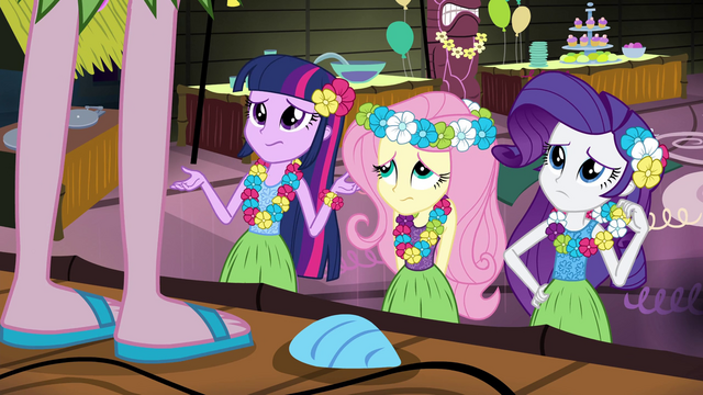 File:Twilight, Fluttershy, and Rarity unsure of Pinkie's theme EG2.png
