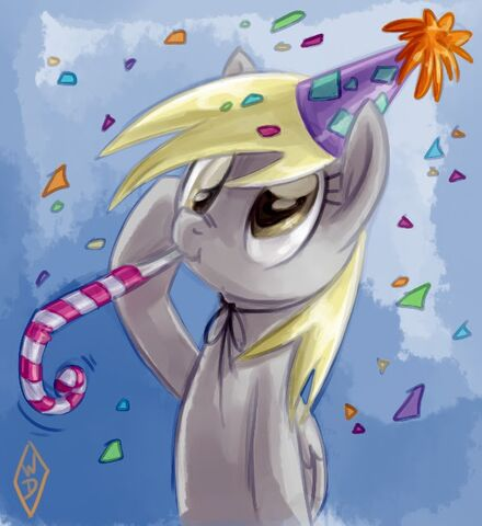 File:FANMADE Derpy Hooves party hat salute by whitediamonds.jpg