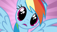 Rainbow Dash in awe of the amulet S6E13
