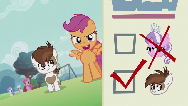 File:Scootaloo walking with Pipsqueak; ballot paper shows Diamond's head crossed out S5E18.png