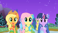 "Applejack, Fluttershy, and Twilight ""sell some apples"" S01E26.png"
