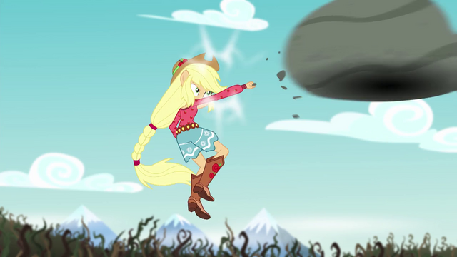 File:Applejack punches the boulder at the bramble wall EG4.png