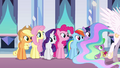 Celestia crosses in front of the Mane Six EG.png