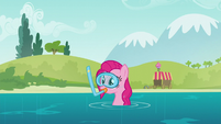 Pinkie wearing snorkeling accessories S5E19