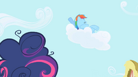 Rainbow Dash talks to Twilight from a cloud S1E01