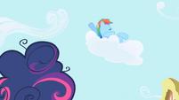 Rainbow Dash talks to Twilight from a cloud S1E01