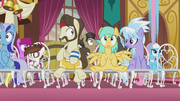 Ponies flying into their wedding seats S5E9