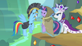 Rarity putting Twilight in front of Rainbow Dash S2E11.png