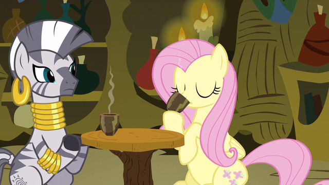 File:Fluttershy I'm drinking it S3E5.png