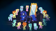 Princess Luna surrounded by dream ponies S7E10