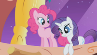 Rarity and Pinkie on balcony S1E3