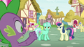 Spike happy to see Lyra and Sweetie Drops arguing S7E15.png