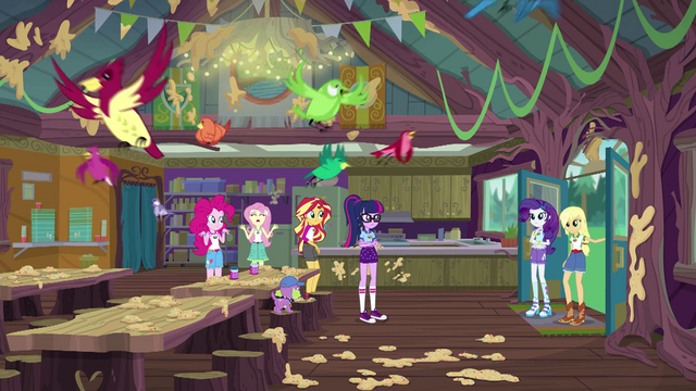 File:Applejack and Rarity enter the mess hall EG4.png