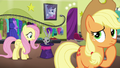 Applejack thinks as Fluttershy talks to Bernard S6E20.png