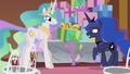 Celestia and Luna grinning nervously at Spike S5E9.png