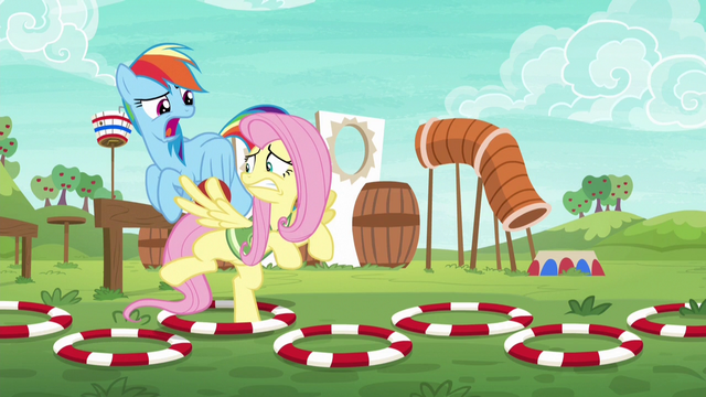 File:Rainbow Dash harshly coaching Fluttershy S6E18.png
