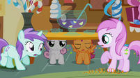Sweetie Belle and Scootaloo under the table S1E12
