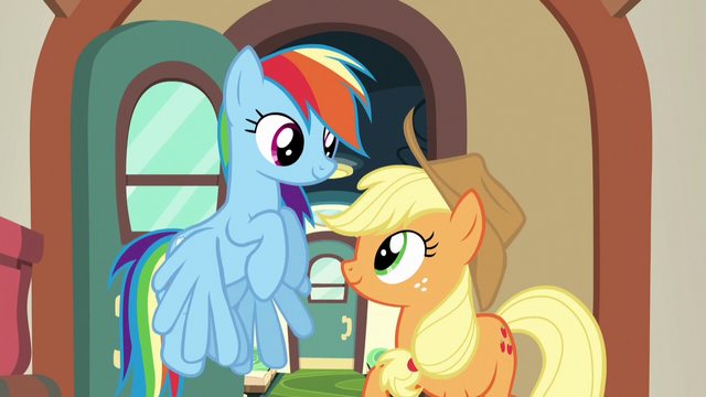 File:Applejack and Rainbow smile at each other S6E18.png