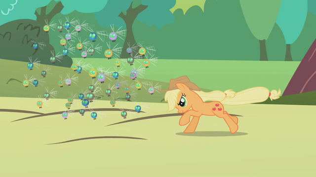 File:Applejack rounding up some parasprites S1E10.png